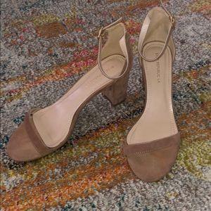 Velvet tan sandals
